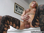 Pretty ladyboy Camille Andrade plays solo with her lovely dick