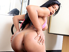 Latina shemale Gabriela De Carvalho moans it out loud while ass pounded