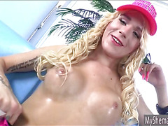 Sexy blonde shemale Cassie Sparkles sucks cock and analized