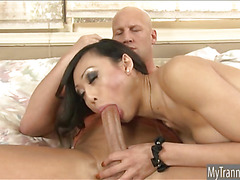 Beautiful asian TS Venus Lux gives blowjob and gets assfucked