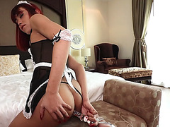 Redhead maid ladyboy shemale played with a huge toy