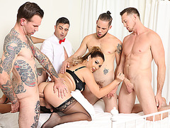 Hottie TS Chanel in wild gang bang scene with her hung guys
