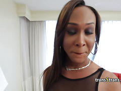 Ebony sheshaft plays with cock solo