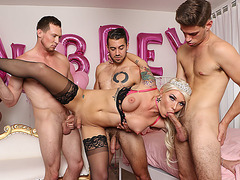 Hot Busty TS Aubrey Kate enjoys foursome with big cocks