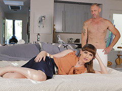 Luscious tgirl Natalie Mars takes anal sex in the bed