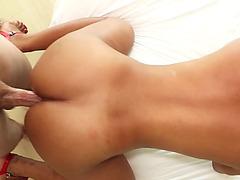 Super hot Asian shemale in sexy bikini got anal smashed