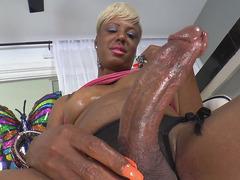 Ebony Trans Girl Holly Hung Strokes Her BBC