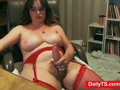 Natural big tits Mature TS jerks big cock - Dailyts.com