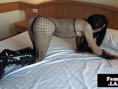 Lingerie asian femboy toying her anal