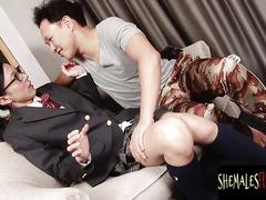 Cute asian schoolgirl shemale sucking rod