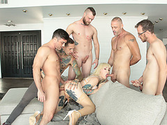Adorable Tbabe Lena Kelly gets her ass gangbang by five horny guys