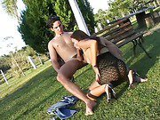 erotic shemale is outdoors having hot anal sex