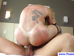 Busty shemale tranny tight ass fucked
