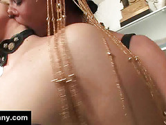Sexy blonde is blindfolded by a tranny