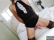 Beautiful TS Sienna Grace in sexy balck dress anal rammed