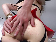 Hot Shemale Jacqueline Woods toying her ass while jerking off