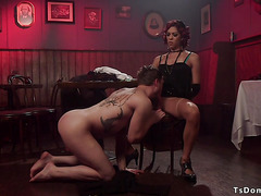 Big cock tranny gets anal sex in bar