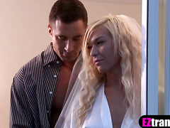 Busty blonde tranny babe fucked in the ass by her lover