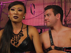 Amazing transgender domina punishes a slave