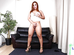 Sexy ladyboy whips her penis out