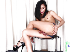 Big lipped ladyboy shows off her rod