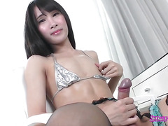 Asian tranny fucks a white guy in the ass