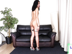 Sexy oriental ts chick gets naked to jerk off