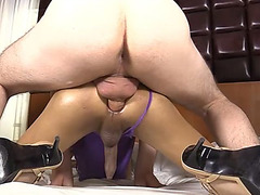 Ladyboy in high heels gets fucked hard in her tight ass