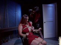 TS domina punishing restrained lesbian babe