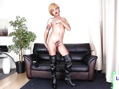 Cute blond tgirl woman jerking off