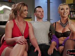 Sexy ts gal with woman sub man in threeway