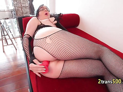 Fat perv tranny plays with toys