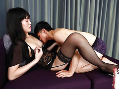 Lingerie ladyboy goes down on guy