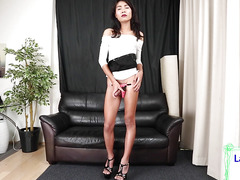 Rbf asian shemale stroking her cock