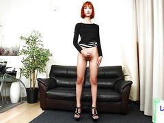 ginger ladyboy gets her big dick out