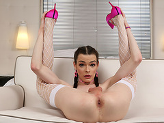 Nasty t-girl Kira Crash clean asshole licked and fucked
