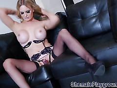 Lingerie tranny jerks her dick