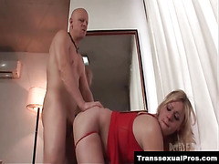 Hot blonde tranny bent over and fucked