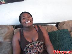chubby ebony cocksucker filmed at ts casting