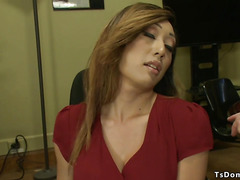 Tgirl boss sucks and fucks male employee