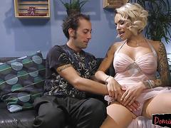 Transgender beauty dominating her slave