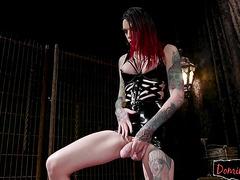 Tattooed transgender mistress enjoys anal