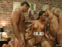 Big-tits trans has threesome with two men