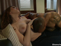 Muscled black guy anal fucked by Ts