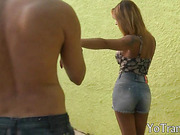 Latina TS Blanca Alves gives blowjob and bend over for anal penetration