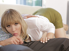 Hot heshe Lena Kelly swallows and takes a stiff penis