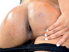 Slutty shemale honey Nody Nadia toys ass and masturbates