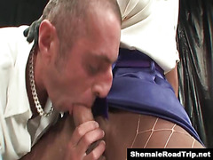 TS Mirella gets rimmed and sucked