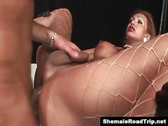 Latin Tgirl Mirella is sucked and fucked