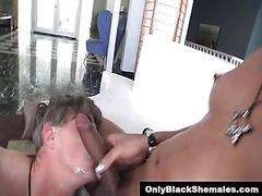 Black TS Sasha Strokes facials a guy